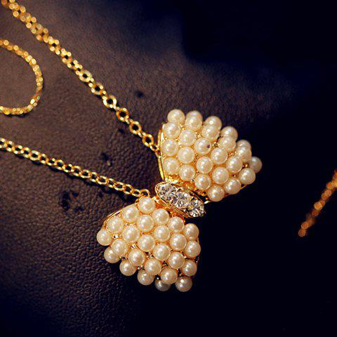 Fashion Charming Faux Pearl Embellished Bowknot Pendant Women's Necklace