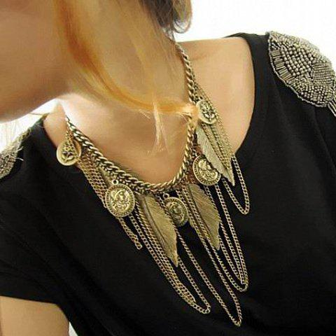 Discount Vintage Western Style Tassel and Leaf Embellished Alloy Women's Necklace