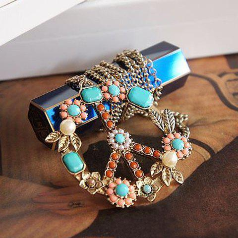 Discount 1pcs Europestyle Vintage Peace Sign Inserting Colorful Beads Necklace