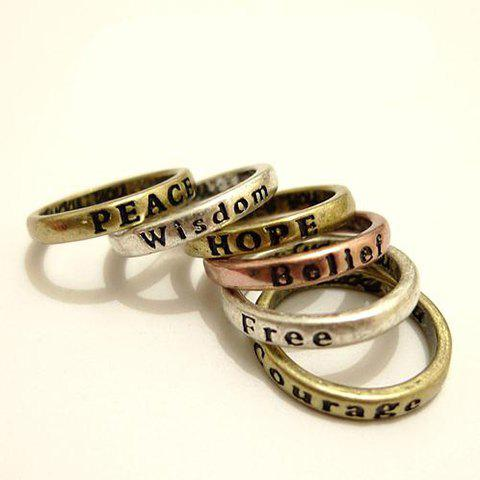 Best 8Pcs Antique Letter Carved Wishing Rings - BRONZE  Mobile