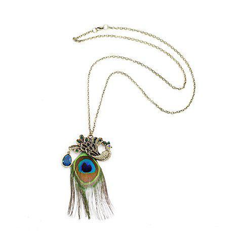 Affordable Fashion Retro Style Peacock Shows The Tails Shape Pendant Design Women's Necklace