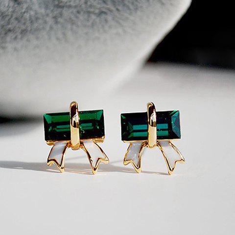 Shop Bowknot Shape Artificial Crystal Embellished Alloy Earrings