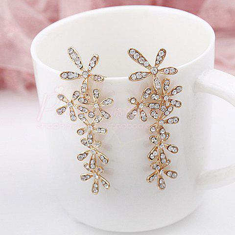 Chic Pair of Stunning Rhinestone Flower Shape Women's Long Stud Earrings