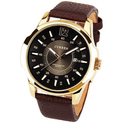 Curren Quartz Watch with 1 Number and Strips Indicate with Round Dial Leather Watch Band for Men - Black - BLACK