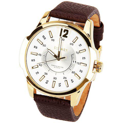 Curren Quartz Watch with 1 Number and Strips Indicate with Round Dial Leather Watch Band for Men - Black - White