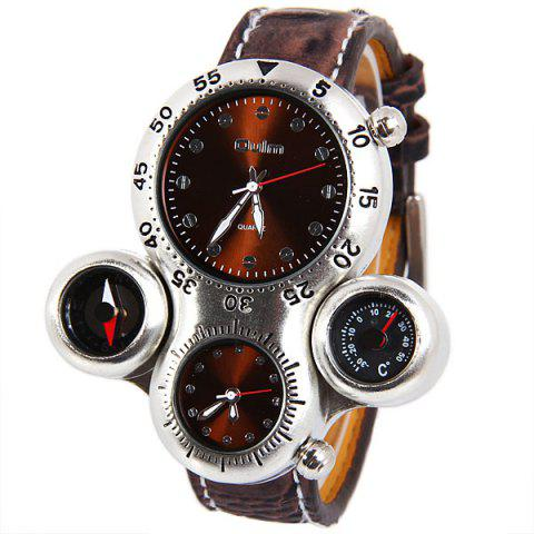 Sale Top Brand Oulm Multi-function Quartz Wrist Watch with Leather Watchband for Male