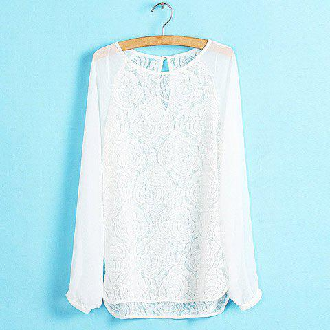 Chic Ladylike Scoop Neck Lace Splicing Chiffon White Women's Blouse
