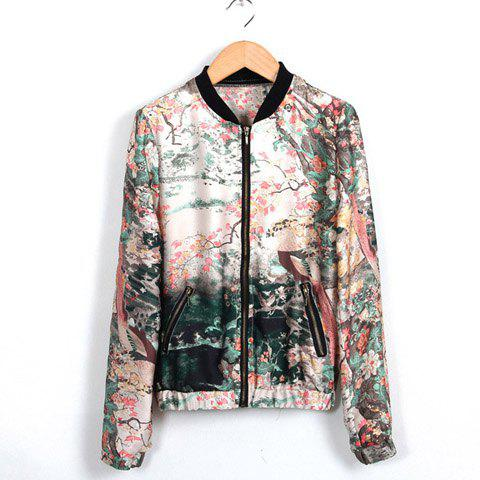 Latest Stand Collar Ink Painting Print Zipper Women's Spring Coat