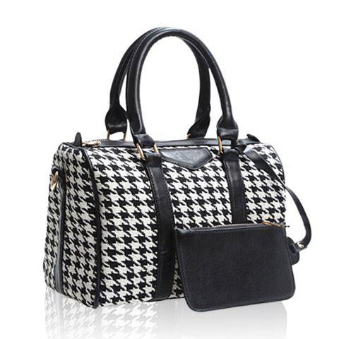 Store Casual Bucket Shape PU Leather Checked Design Women's Tote - CHECKED  Mobile