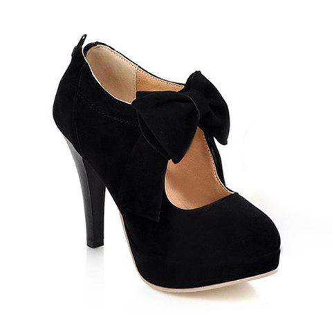Discount Bowknot Cut Out Platform Pumps