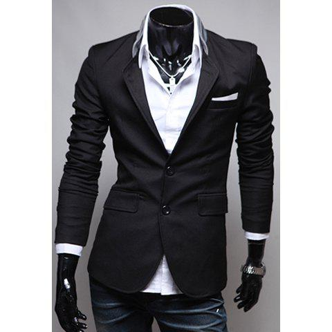 Unique Spring New Style Pocket Applique Design Solid Color Blazer For Men