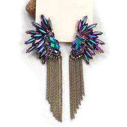 Pair of Beads Rhinestone Fringed Drop Earrings
