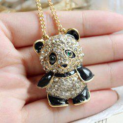 Rhinestone Panda Shape Pendant Necklace -