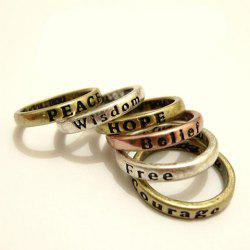 8Pcs Antique Letter Carved Wishing Rings -