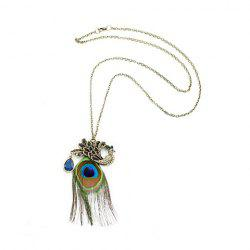 Fashion Retro Style Peacock Shows The Tails Shape Pendant Design Women's Necklace -