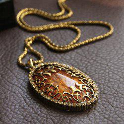 Sweet Fashion Style Amber Oval Shape Pendant Design Women's Necklace -