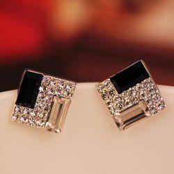 Square Shape Rhinestone Embellished Earrings -