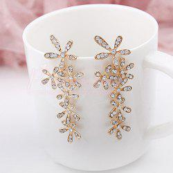 Pair of Stunning Rhinestone Flower Shape Women's Long Stud Earrings -