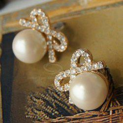 Pair of Bowknot Rhinestoned Stud Earrings