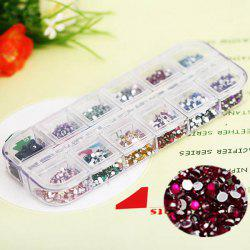 Stylish 12 Colors Glitter Nail Art Tips with Plastic Box Round Paillette Decoration
