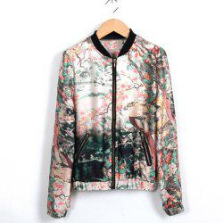 Stand Collar Ink Painting Print Zipper Women's Spring Coat -
