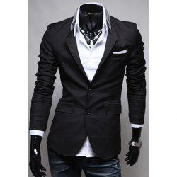 Spring New Style Pocket Applique Design Solid Color Blazer For Men