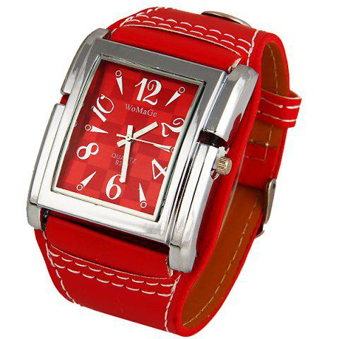 Unique WoMaGe Quartz Watch with Numbers and Needle Strips Indicate Leather Watch Band for Women (Red)