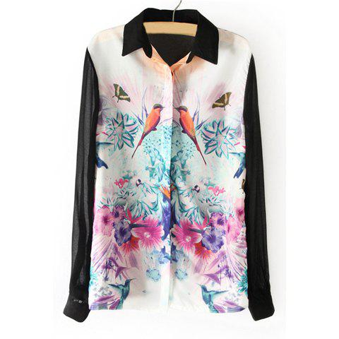 Hot Spring New Splicing Blocking Color Bird and Flower Painting Chiffon Women's Blouse