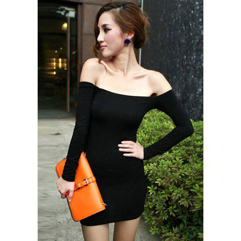 a3f0ed46fbf0 [47% OFF] New Women Off Shoulder Stretch Tunic Tight Fitted Club Wear Party  Sexy Mini Dress Black | Rosegal