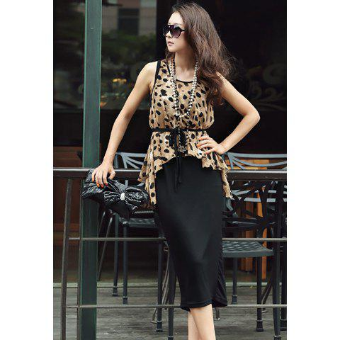 Affordable Stylish Style Scoop Neck Leopard Sleeveless Women's Spring Dress With Blouse