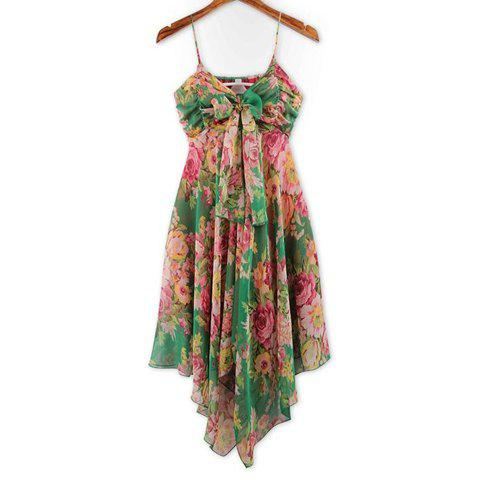 New Refreshing Spaghetti Strap Colorful Tiny Floral Print (Without the Tie) Chiffon Women's Dress