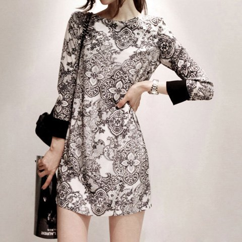 Trendy Vintage Style Scoop Neck Printing Long Sleeve Women's Dress - L AS THE PICTURE Mobile