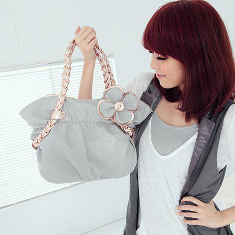 Trendy PU Leather and Weaving Strap Design Women's Tote