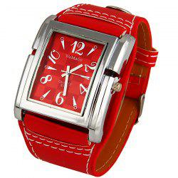 WoMaGe Quartz Watch with Numbers and Needle Strips Indicate Leather Watch Band for Women (Red) -