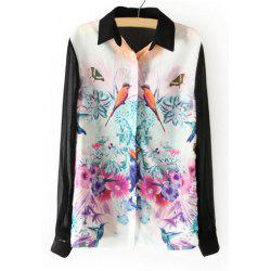 Spring New Splicing Blocking Color Bird and Flower Painting Chiffon Women's Blouse -