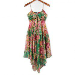 Refreshing Spaghetti Strap Colorful Tiny Floral Print (Without the Tie) Chiffon Women's Dress -