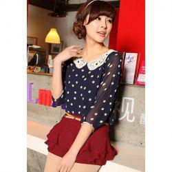 Vintage Peter Pan Neck Polka Dots Chiffon Women's Spring Blouse -