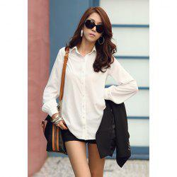 Spring Trends Solid Color Long Sleeves Polyester Women's Shirt -
