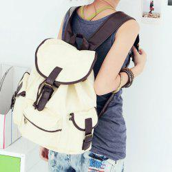 Korean Style Casual Color Matching and Canvas Design Women's Satchel -