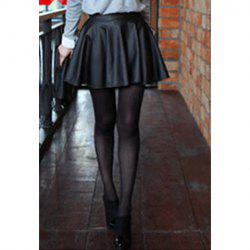Women's Stylish Slim Synthetic Leather High Waist Pleated Mini Skirt -