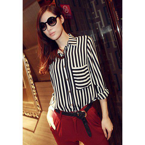 Trendy Spring Trends Vertical Stripe Pocket Chiffon Women's Blouse