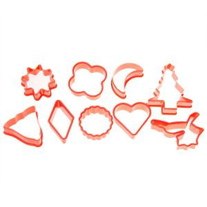 10PCS Plastic Cake Cookie Model with Different Shapes - RED