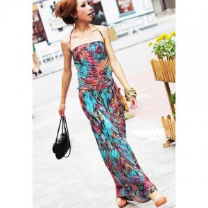 Maxi Halter Print Bohemian Dress for Summer - As The Picture - One Size