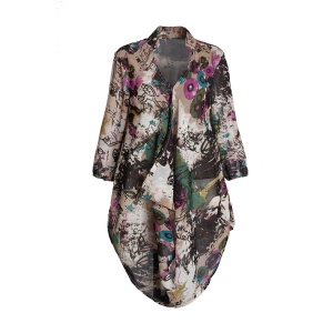 Graffiti Print Plus Size Chiffon Tunic Shirt