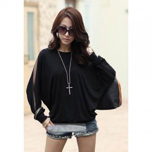 Casual Off Shoulder Solid Color Batwing Cotton Blend Women's T-Shirt - Black - L