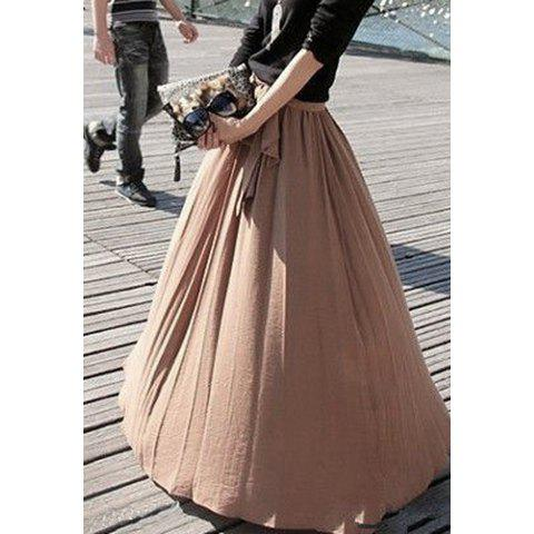 Online Ladylike Style High Elasticity Solid Color Bow Tie Women's Skirt