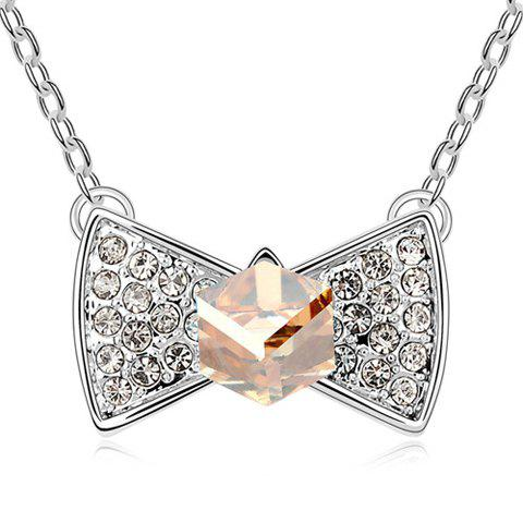 Buy Sweet Rhinestoned Bowknot Pendant Decorated Women's Necklace GOLD