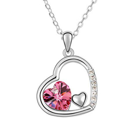 Rhinestoned Heart Pendant Necklace - COLOR ASSORTED