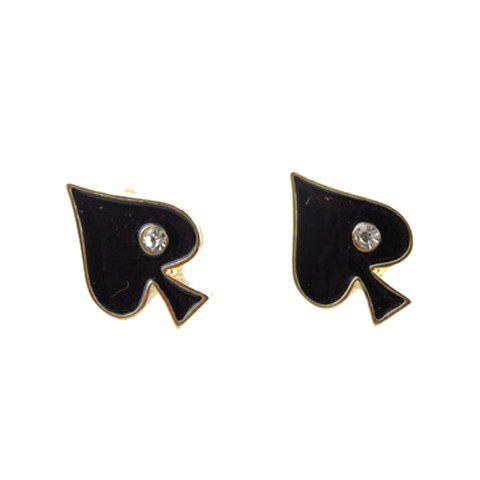Unique Rhinestone Playing Card Shape Earrings - BLACK  Mobile