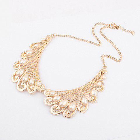 Fashion Vintage Openwork Angel Wing Faux Pearl Necklace